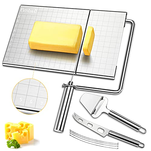 Cheese Slicer, Stainless Steel Cheese Slicers with Accurate Size Scale, Wire Cheese Slicer for Cheese Butter,Equipped with 5 Replaceable Cheese Slicer Wires & 1 Cheese Knife & 1 Cheese Planer