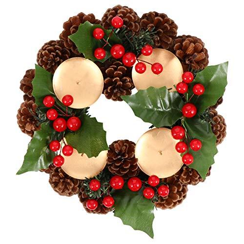 SOIMISS 22Cm Traditioneller Weihnachts-Adventskranz Weihnachtskerzenringe Kranz mit Roten Beeren Und Tannenzapfen Weihnachtskerzenhalter Herzstück
