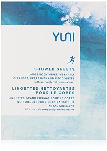 YUNI Beauty Shower Sheets, Pepperment Citrus, 12 Count