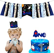 Space High Chair Banner Decorations Kit - Space Astronaut Highchair Banner, Crown Hat With One Cake Topper for Space Theme Baby Shower 1st Girls and Boys Birthday Party Supplies