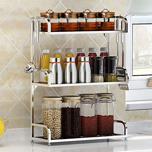 TFeibo wastafel boven de wastafel, keukenrek van roestvrij staal, keukengerei, rek voor kruiden, keukengerei (zilver)