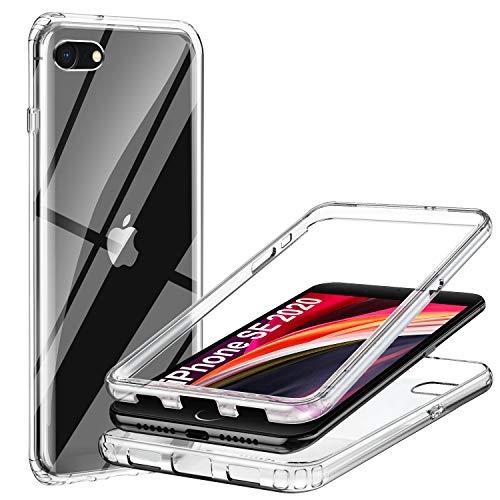 ivencase iPhone SE 2020 Hülle Silikon Transparent,Handyhülle Full Schutz Cover Crystal[2in1 Separat Hart PC Bumper+Weich TPU Zurück] 360 Grad Vorne und Hinten Schutzhülle für iPhone SE 2020/iPhone 7