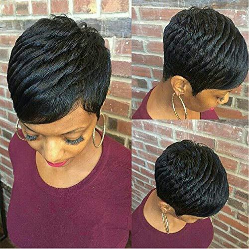Gabrielle Short Human Hair Pixie Cut Wigs 100% Human Hair Cute Wig Short Pixie Wigs for Black Women Natural Boy Cut Wigs (Pixie Cut, 1B#)