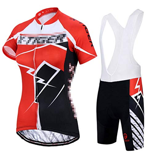 ZWW Women's Cycling Jersey Set Summer Anti-UV Cycling Clothing Quick-Dry Mountain Clothes Cycling Set Thin Sweat-Absorbent and Breathable (Color : Orange, Size : XS)
