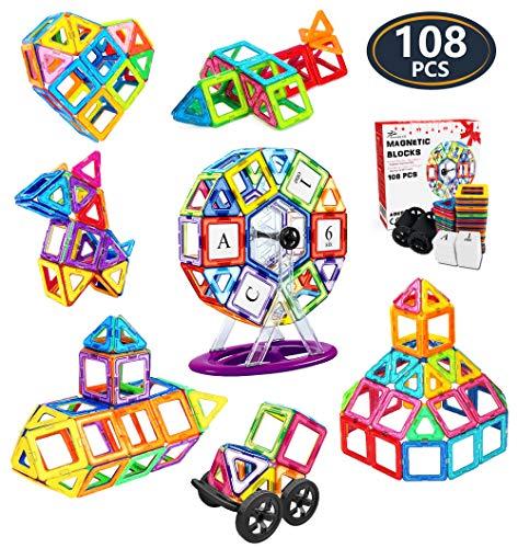 Jasonwell 108 Pcs Magnetic Tiles Building Blocks Set for Boys Girls Preschool Educational