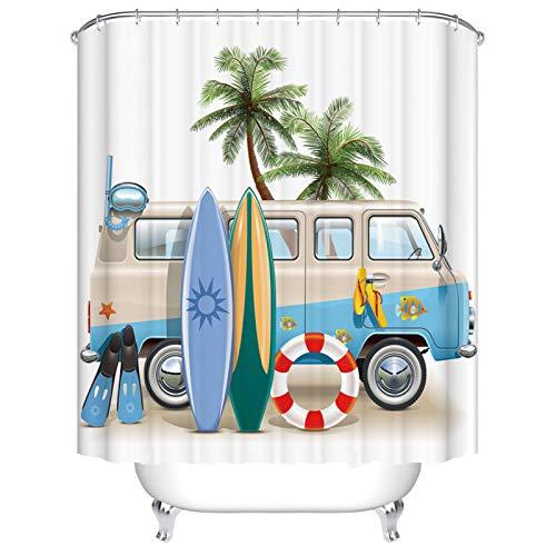 BOYOUTH Duschvorhang mit Cartoon-Bus- & Palmen-Muster, Digitaldruck, für Badezimmer, Dekoration, Polyester, wasserdichter Stoff, Badvorhang mit 10 Haken, 150 x 180 cm, mehrfarbig