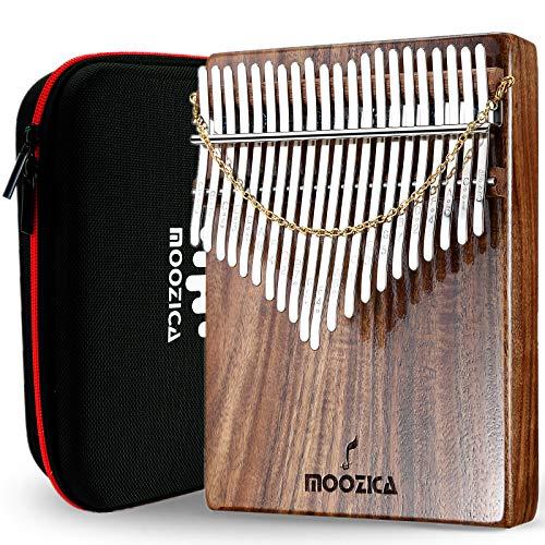 Moozica Kalimba Daumenklavier mit 21 Tasten, hochwertiges professionelles Koa-Holz, Mbira, Finger-Daumenklavier mit Hochleistungs-Tragetasche und Lernanleitung (Akazie Koa-K21K)