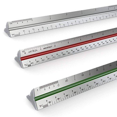 Regla De Escalas Triangular De Aluminio Para Arquitectos Arteza De 30 Centímetros - Codificación De Escalas Por Colores (En Pulgadas)