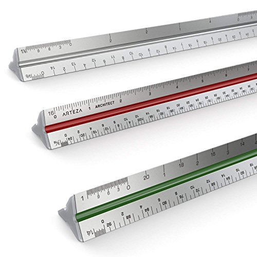 Arteza Architect Scale Ruler, Imperial, 12-Inch Color-Coded Professional-Grade Aluminum Triangular...