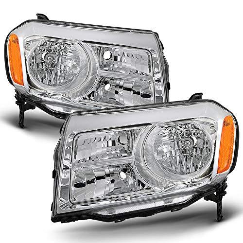 ACANII - For 2012-2015 Honda Pilot SUV Chrome Housing Headlights Headlamps Assembly Replacement Driver & Passenger Side