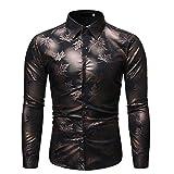 Generice Camisa de manga larga para hombre de otoño, de manga larga Negro Negro ( L