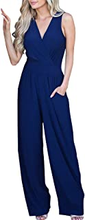 Klousilover Womens Sleeveless V Neck Jumpsuit Wide Leg Long Pant Party Romper Pockets