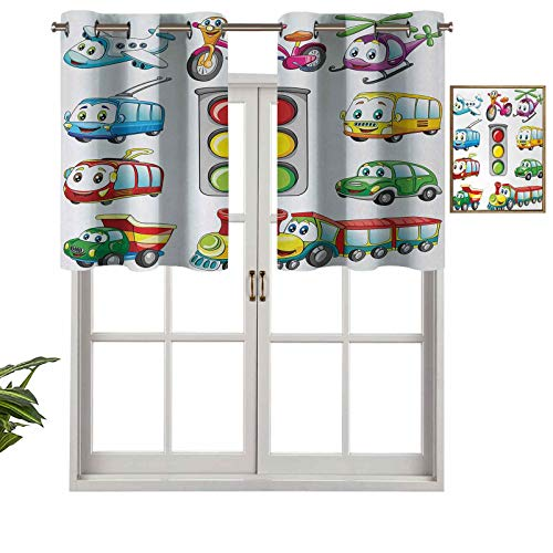 Hiiiman Window Curtain Light Filtering Grommet Top Valance Cartoon Style Urban Public Transportation Characters with Smiling Friendly Faces, Set of 1, 54'x18' for Bedroom, Kitchen Or Bathroom Windows