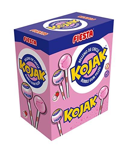 El producto contiene 100 unidades de Kojak. Caramelos con palo sabor helado de fresa rellenos de chicle. AUTÉNTICOS: ¿Sabías que fuimos los primeros en meterle chicle a un caramelo y darle forma y nombre a la Piruleta? Disfruta con Fiesta de golosina...