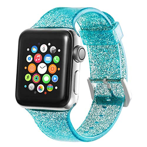 Silicona brillante para Apple Watch Band 44mm 40mm Para Iwatch Band 38mm 42mm Pulsera transparente para Apple Watch 3 4 5 6 Se Correa-verde, 42MM-44MM