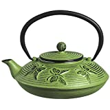 M.V. Trading T7018 Cast Iron Teapot Felicity, 27-Ounce, Green Butterfly