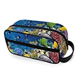 Beautiful Underwater World Life Travel Toiletries Bags with Zippers Travel Bag for Toiletries Carry-on Travel Accessories Travel Toiletries for Men and Women Travel Bag for Toiletries Accessories