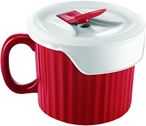 Corningware Pop-Ins Mug with Vented Plastic Cover, Tomato Red, 591ml