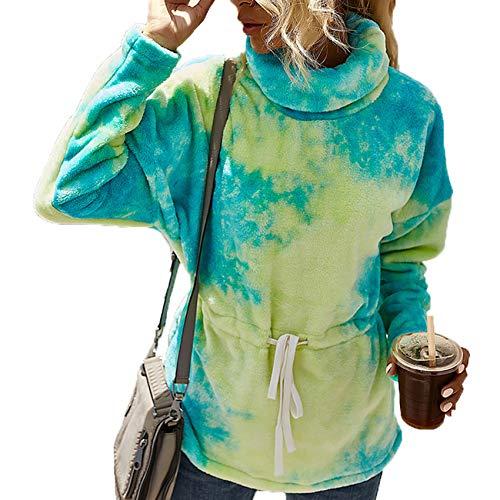 YZANYFQH OtoñO/Invierno Mujer Cuello Alto Contraste Color Tie-Dye Cintura Slim Sweater Mujer