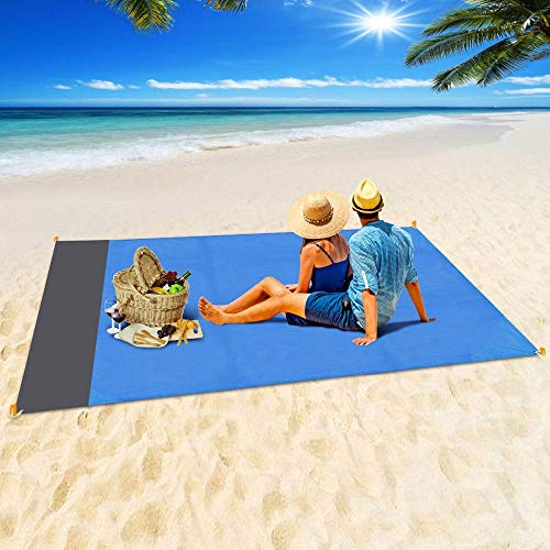 LYYDAN Strandmatte, Picknickdecke 140 X 200 cm, wasserdichte Leichte Stranddecke Mit Tasche Und Karabiner, Polyester + TPU-Beschichtung, Für Picknicks, Camping, Strand