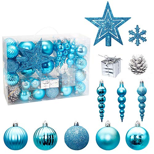LZKZPY 60ct Christmas Ball Ornaments, Shatterproof Christmas Decorations Tree Balls for Holiday Wedding Party Decoration (Blue)