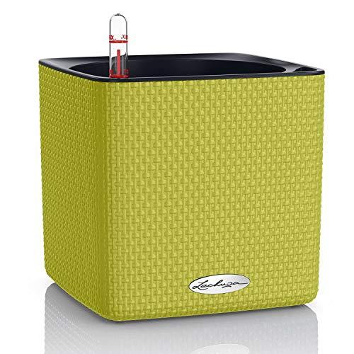 LECHUZA CUBE Color 16 13585 Kräutertopf, Hochwertiger Kunststoff, Inkl. Stick-Bewässerungssystem, für Innenraumbegrünung geeignet, limettengrün