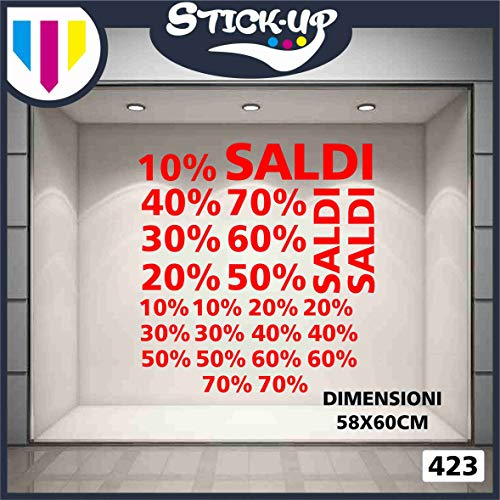 Vetrofanie SALDI – Set mit 24 SALDIs und PERCENTUALI – Streudeko – aussen alles – Schaufensterläden, Stickers