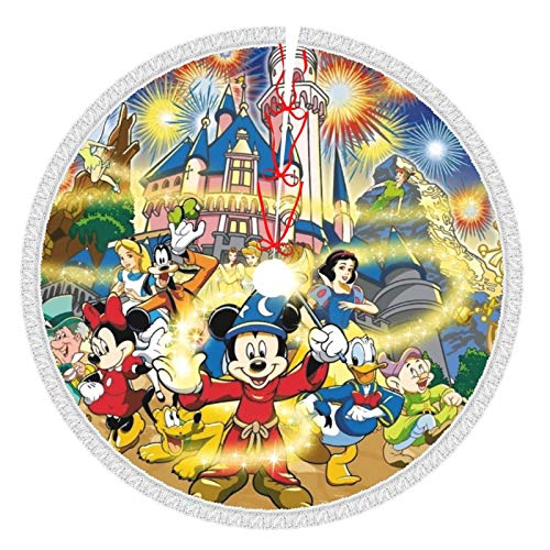 Heezuu Christmas 30' Mickey Mouse Dis-Ney Princess Tassel Tree Skirt Soft Christmas Tree Mat for Xmas Party Decoration, Christmas Tree Holiday Décor