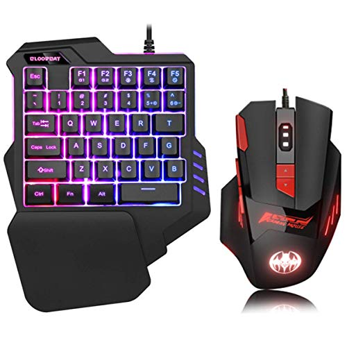 Gaming Tastatur Maus Set Einhändige Tastatur mit 35 Schlüsseln RBG-LED Hintergrundbeleuchtung Kabelgebundene Gaming Maus für Xbox One, PS4, PS3, Switch, Windows PC, für PUBG LOL CS Gamer