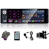 Podofo Autoradio 1 Din con Schermo Stereo Auto Bluetooth Radio Auto Vivavoce Microfono Integrato 4.1 Pollici LCD Touch Screen USB/BT/AUX+Telecamera Retromarcia