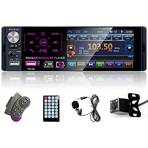 autoradio 4.1 Podofo Autoradio 1 Din con Schermo Stereo Auto Bluetooth Radio Auto Vivavoce Microfono Integrato 4.1 Pollici LCD Touch Screen USB/BT/AUX+Telecamera Retromarcia