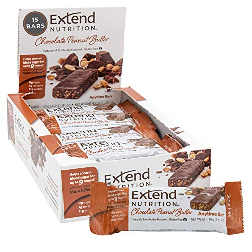 Extend Bars, High Protein, Sugar Free and 1 Net Carb Snack 1.41 Ounce Bars, Chocolate Peanut Butter, 15.0 Count