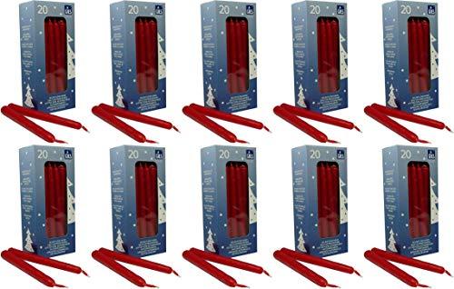 200 selbstlöschende Baumkerzen, 124 x 12 mm, Rot, handgetauchte Qualität