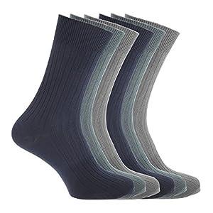 Floso – Calcetines acanalados 100% algodón hombre caballero (6 pares)
