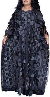 HD Afircan Women Applique Flower Dress Boat Neck Caftan Chiffon Gown One Size