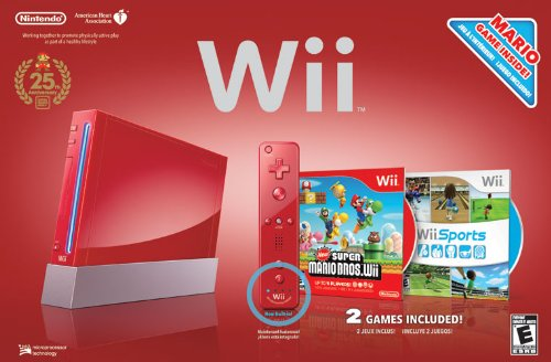 Red Wii Console with Wii Sports ...