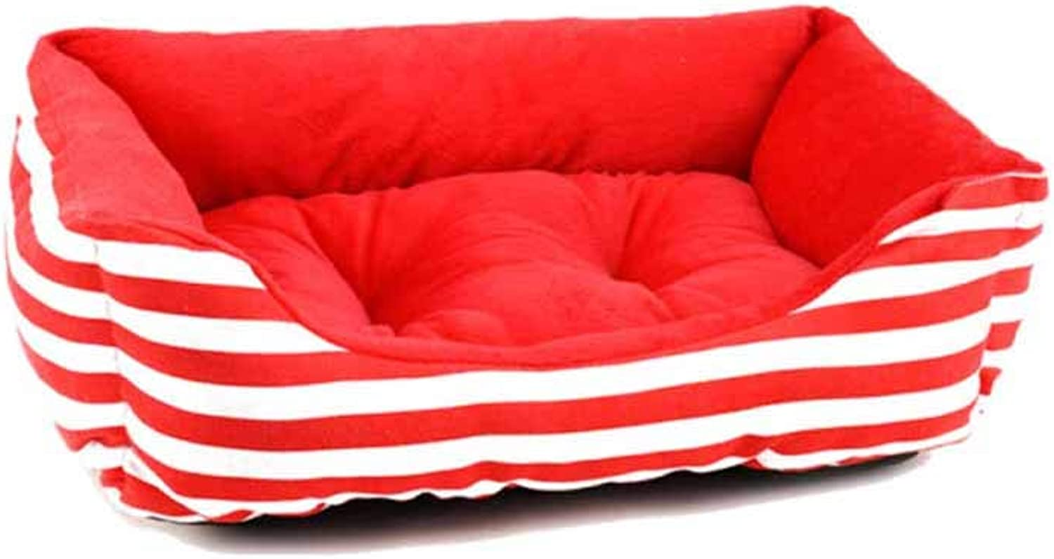 Kennel, Fully Removable and Washable, Autumn and Winter, Kennel, Teddy, Dog Mat, Large Four Seasons Warm, Sleeping Mat, Pet Nest, Cat Litter, Cat Mat, Dog Bed (color   Red, Size   L)