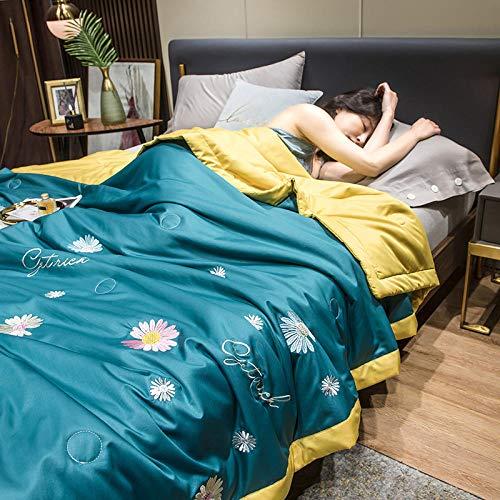 Bedding-LZ Juego de Funda de edredón Doble-,Día de Color sólido Cuatro Paquetes de Lujo Ligero.-A_Cama de 150 cm