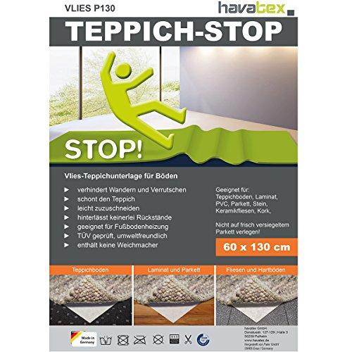 havatex Anti-Rutsch Teppich Unterlage VLIES P130 - Größe wählbar | Teppich-Stopper Anti-Rutsch-Matte | Made in Germany | leicht zuzuschneiden | TÜV geprüft, Öko-Tex Siegel, Größe:160 x 230 cm