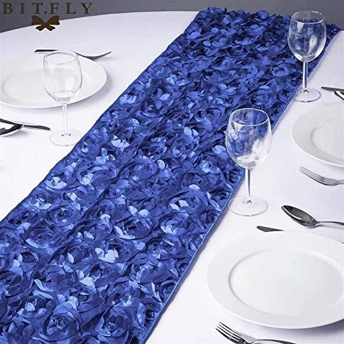 DXNXLLY Decoración hogareña Fiesta de la Boda Corredores de la Tabla Nueva de la Manera Rosette Raso 30x275CM 3D Grandioso Rose Decoración para decoración de Fiesta en casa (Color : Royal Blue)