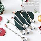 YARNOW 6 Stück Edelstahl Kaffeelöffel Langstiel Löffel Rührlöffel Weihnachtslöffel mit Geschenkbox für Tee EIS Weihnachten Party Urlaub - 9
