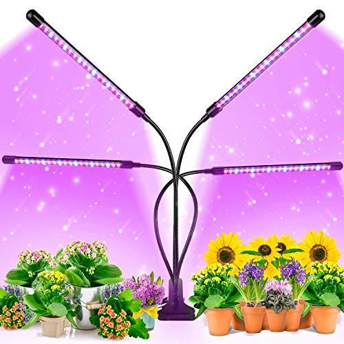Grow Light, Lámpara de Planta, Lampara de Cultivo con temporizador, 80 LEDs Luz de Crecimiento Espectro Completo, Cuello de cisne Ajustable de 360 °, Clip de Escritorio, 3 Modos, 9 Brillo
