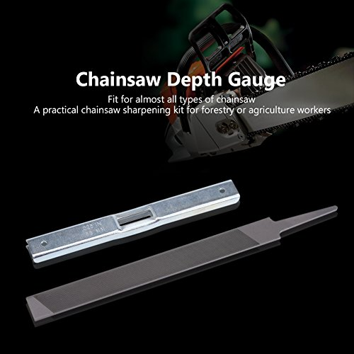 Delaman Saw Chain Sharpener Depth Gauge + Flat File, Chain Saw Sharpening Tool Kit, for General Chainsaw