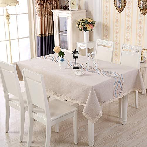 Rechthoekig tafelkleed van katoen en linnen, Stiksels Stofdicht Wasbaar Kant Keukentafelhoes voor eettafel, voor keuken Eettafel Tafelbescherming,a,90 * 150cm