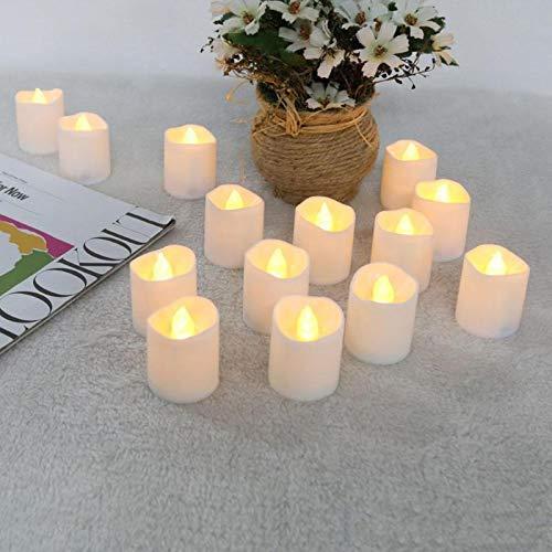 Juego de 12 velas cálidas parpadeantes de luz de té sin llama, velas falsas para festival, boda, celebración, decoración blanca