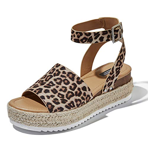 DailyShoes Women's Chunky Strappy Flat Platform Flatform Sandal Espadrilles Ankle Strap Buckle Toe Work Shoes Classic Mid Square Dress Sandals Cheetah,s,v,6