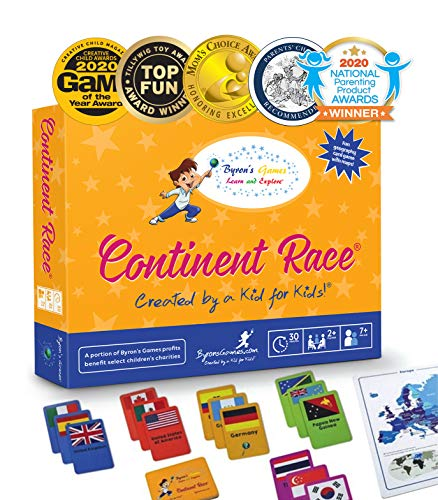 Continent Race Geography for Kids Card Game - Kids 7+ Award Winning - Learn Continents & Countries...