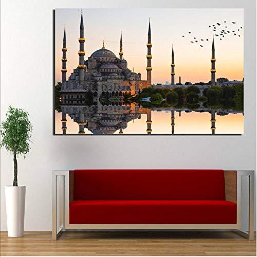 Knncch Islamischen Sultan Ahmed Moschee Leinwand Malerei Drucken Wohnzimmer Dekoration Moderne Wandkunst Ölgemälde Poster Bilder Kunst-50x70cm