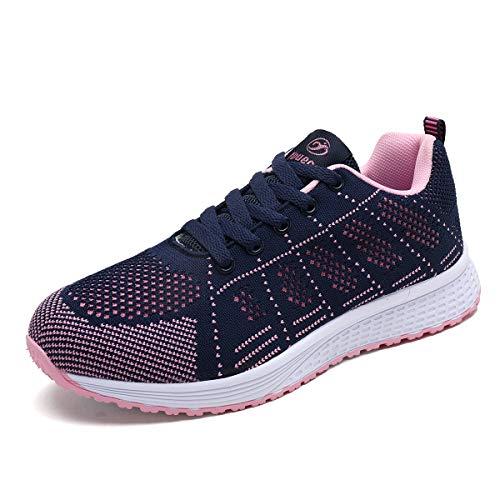 Decai Mujeres Zapatillas de Deportivos de Running para Mujer Gimnasia Ligero Sneakers Malla Transpirable con Cordones Zapatillas Deportivas para Correr Fitness Atlético Caminar Zapatos Azul 39 EU