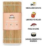 Doodee - Kit Sushi Fai da Te - Video Ricette in Italiano - Set con Stuoia in Bamboo, Bacchette e Molto Altro